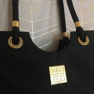 Givenchy perfume vintage black and brass tote